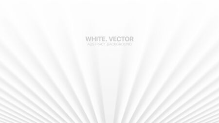3D Vector Smooth Perspective Lines White Abstract Background. Colorless Empty Blurred Surface Minimalist Illustration. Futuristic Technology Wide Wallpaper. Clear Blank Business Presentation Backdrop