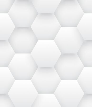 Technologic 3D Vector Hexagons Bright Abstract Seamless Pattern. Science Tech Hexagonal Blocks Structure White Conceptual Repetitive Wallpaper. Three Dimensional Clear Blank Subtle Tileable Backdrop Ilustração