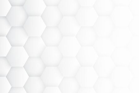 Minimalist White Abstract Background. High Technology 3D Hexagons. Scientific Technologic Three Dimensional Hexagonal Blocks Light Conceptual Wallpaper. Tech Clear Blank Subtle Textured Backdrop 免版税图像