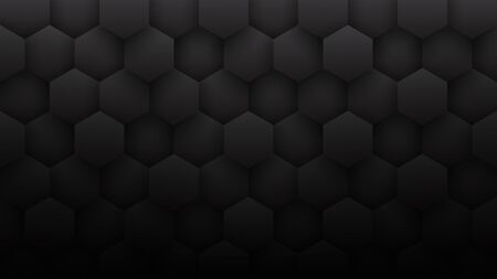 3D Hexagons Grid Pattern Technological Minimalist Dark Gray Abstract Background. Sci-Fi Hexagonal Blocks Structure Conceptual Minimalism Art Illustration. Black Clear Blank Subtle Textured Wallpaper