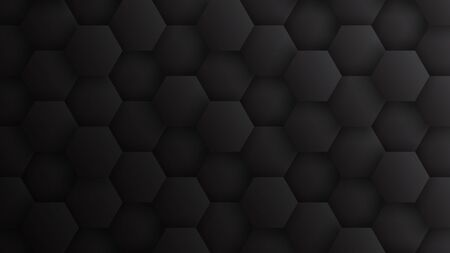 3D Hexagons Pattern Technology Dark Gray Minimalist Abstract Background. Concept Scientific Tech Hexagonal Blocks Structure Darkness Grey Wallpaper In Ultra High Definition Quality