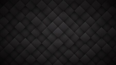 Dark Gray 3D Rhombus Blocks Grid High Technology Black Abstract Background. Science Tech Conceptual Sci-Fi Darkness Wallpaper In Ultra Definition. Three Dimensional Blank Subtle Textured Backdrop