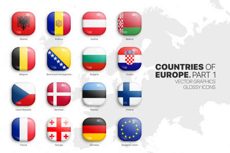 European Countries Flags Vector 3D Glossy Icons Set Isolated On White Background Part 1. Official National Flags Of Europe Square Vivid Bright Color Bulging Convex Buttons Collection On Light Backdrop 矢量图像