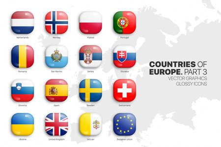 European Countries Flags Vector 3D Glossy Icons Set Isolated On White Background Part 3. Official National Flags Of Europe Square Vivid Bright Color Bulging Convex Buttons Collection On Light Backdrop Ilustração