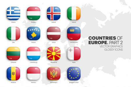 European Countries Flags Vector 3D Glossy Icons Set Isolated On White Background Part 2. Official National Flags Of Europe Square Vivid Bright Color Bulging Convex Buttons Collection On Light Backdrop Ilustração