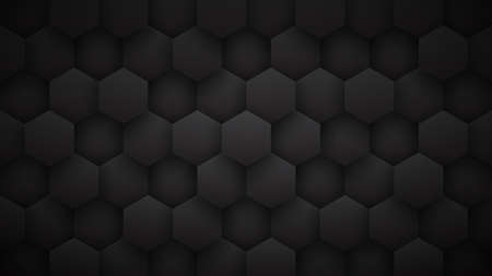 3D Technological Hexagon Pattern Dark Mode Minimalist Abstract