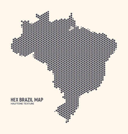 Hex Brazil Map Vector Isolated On Light Background. Hexagonal Halftone Texture Of Brazilian Map