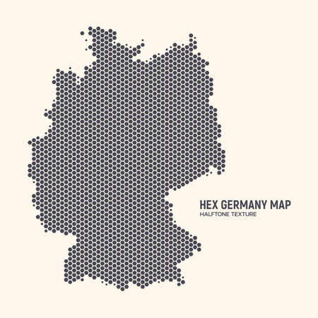 Hex Germany Map Vector Isolated On Light Background. Hexagonal Halftone Texture Of Germany Map