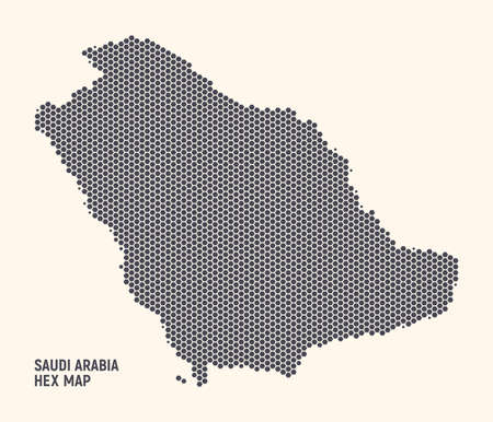Hex Saudi Arabia Kingdom Map Vector Isolated On Light Background. Hexagonal Halftone Texture Of Saudi Arabia Map