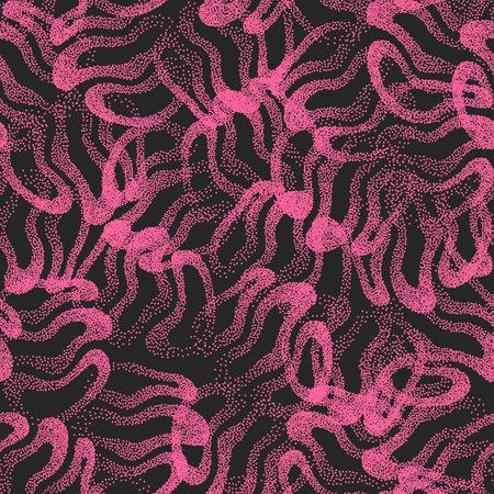 Pink Black Stippled Texture Weird Abstract Vector Seamless Pattern 矢量图像