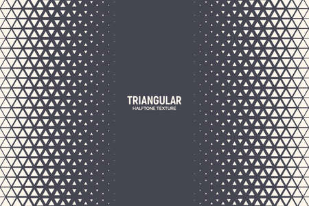 Halftone Triangular Pattern Vector Abstract Geometric Technology Background. Retro Colored Half Tone Triangles Texture. Minimal Style Dynamic Tech Wallpaper Vector Illustration