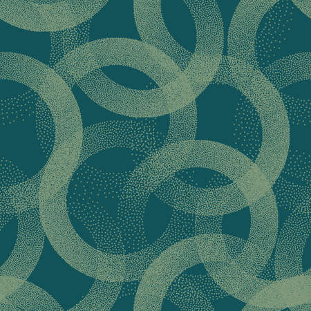 Trendy Seamless Pattern Stippled Circles Texture Vector Turquoise Abstract Background. Hand Drawn Tileable Geometric Dotted Grunge Repetitive Retro Wallpaper. Bizarre Art Illustration