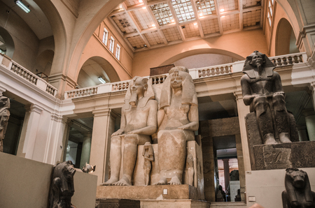 A colossal statue made of hard limestone of King Amenonphis III and his wife Queen Tyi from the 18th dynasty on display at the Egyptian Museum in Cairo, 12 Apr 2015