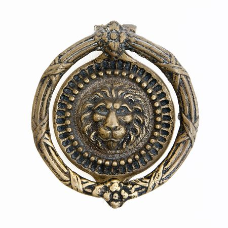 massive lion motif antique bronze door knocker photo