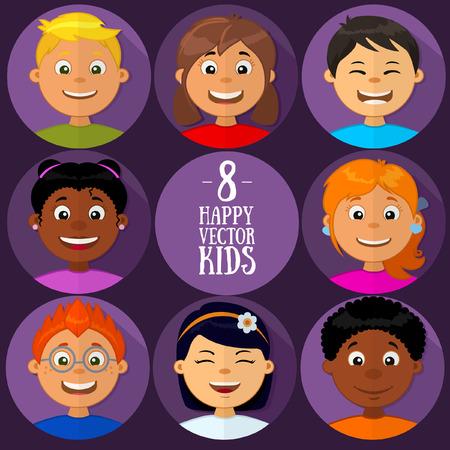 Vari razziali bambini felici insieme