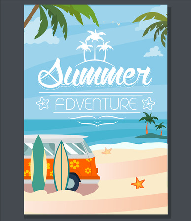 sailboard: Vector summer adventure poster