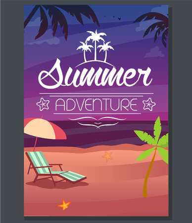 evening party: Vector summer adventure poster evening beach Illustration