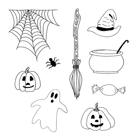 hand drawn halloween scary icons with pumpkin, ghost, cauldron, spider, witch hat, broom for tattoo, textile, cards, mystery. Halloween doodles elements collection. vector illustration.