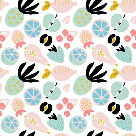 Streszczenie wzór z owocami i jagodami. Ręcznie rysować tekstury. Szablon wektor dla kart, banerów, tkanin do drukowania, t-shirt. Pastelowe kolory.