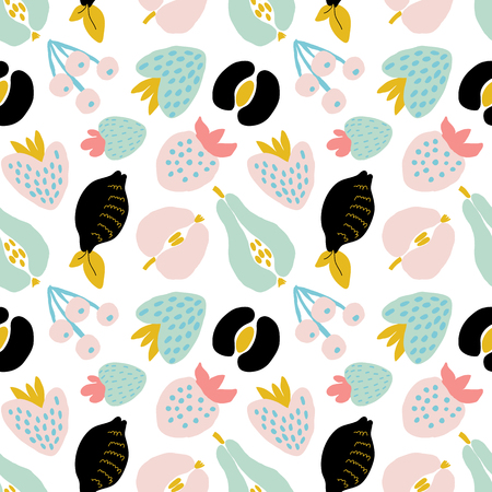 Abstract seamless pattern with fruits and berries. Hand draw texture. Vector template for cards, banners, print fabric, t-shirt. Pastel colors.