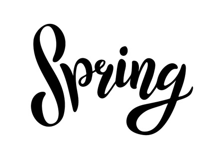 Hand sketched Spring text as logotype, badge and icon. Postcard, card, invitation, flyer, banner template. Lettering typography isolated on white background. Season s Greetings
