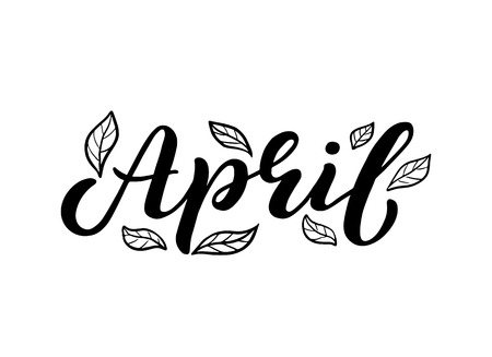 Hand sketched april text with leaves as logotype, badge and icon. Postcard, card, invitation, flyer, banner template. Lettering typography isolated on white background. Spring Vector illustration