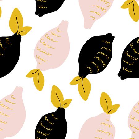 Modello senza cuciture astratto con raccolta di agrumi: limone. Disegnare a mano sfondo sovrapposto, trama. Modello di vettore di carta da parati colorata, sfondo per carte, striscioni, tessuto di stampa, t-shirt. Vettoriali