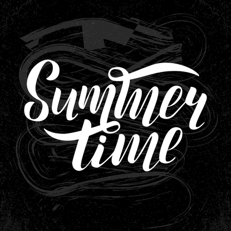 Vector illustration of white summer time text for greeting card print on t-shirt, invitation, poster, store, gift, banner template. Summer time lettering on black background with with chalk divorces.