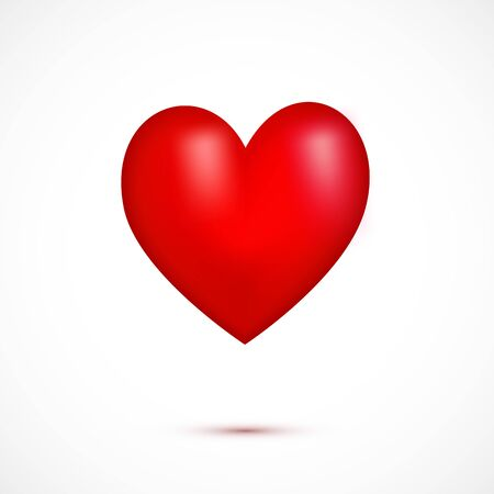 Red 3d realistic heart isolated on white background. Simbol of love, sign. Flying icon of heart with shadow. Decorative element for greeting card, poster, print. Vector illustration. Vector Illustratie
