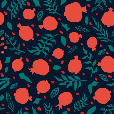 Pomegranate seamless pattern with leaves. Floral vector illustration for SHANA TOVA greeting card. Rosh Hashanah Greeting Card, holiday symbol a pomegranate. Abstract fruits seamless repeart pattern.