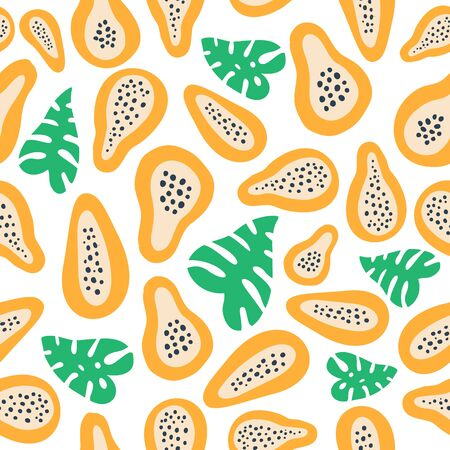 Abstract fruit pattern with papaya. Tropical seamless pattern with papaya and palm leaves in hand drawn simple style. Bright colour in vector illustration. Ornament for textile and wrapping.