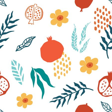 Pomegranate seamless pattern with leaves, flower. Floral vector illustration of abstract doodle and scandinavian fruits. Garnet armenian pattern. The elegant the template for fashion prints.