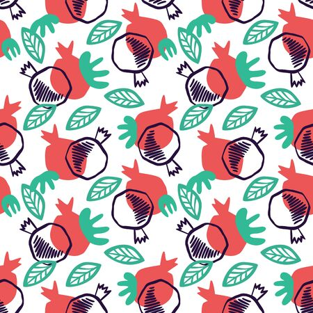 Pomegranate seamless pattern with leaves. Floral vector illustration of abstract doodle and scandinavian fruits. Garnet armenian pattern. The elegant the template for fashion prints.