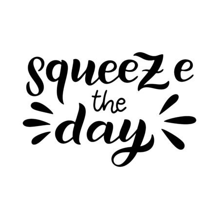 Squeeze the day - vector lettering quote. Hand drawn calligraphy quote in black ink callidraphy style. Comic positive phrase squeeze the day. Vector illustration isolated on white background. Ilustración de vector