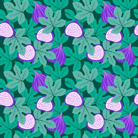 Abstract fruit pattern with figs and leaves. Tropical seamless pattern with fig and leaves on dark green background. Vector illustration in hand drawn style. Ornament for textile and wrapping.