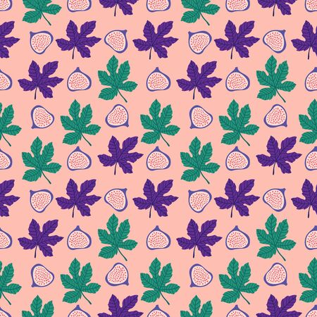Abstract fruit pattern with figs and leaves. Tropical seamless pattern with fig and leaves on pink background. Vector illustration in hand drawn style. Ornament for textile and wrapping. Vettoriali
