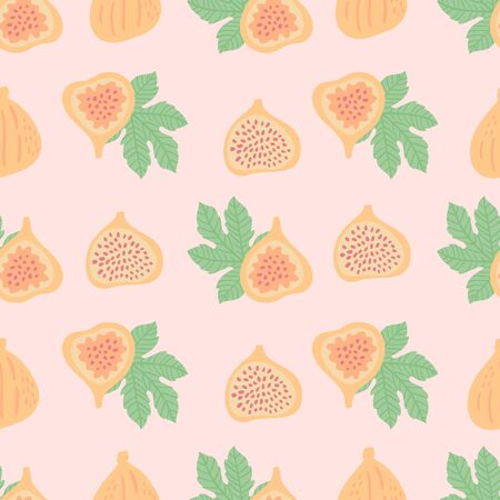 Abstract fruit pattern with figs and leaves. Tropical seamless pattern with fig and leaves on pink background. Vector illustration in hand drawn style. Cute ornament for textile and wrapping.