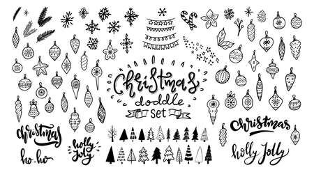 Christmas doodle set. Christmas tree, toys, balls and garland. Hand drawn xmas decorations icons. Vector illustration isolated on white background. Design elements for holiday greeting card, gift tag.