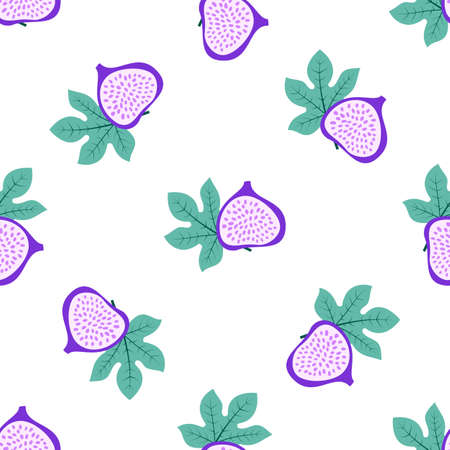 Abstract fruit pattern with figs and leaves. Tropical seamless pattern with fig and leaves on white background.