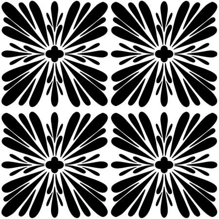 Tile seamless pattern. Black and white geometric background. Traditional repeat ornament.