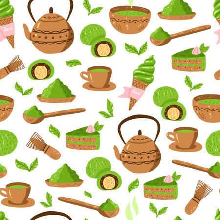 Matcha green tea pattern. Seamless japanese culture pattern with Matcha powder, bowl, teapot and cupcake.
