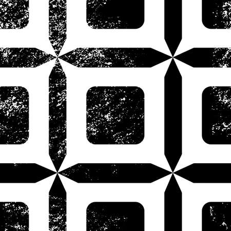 Tile seamless pattern. Black and white geometric background. Traditional repeat ornament with grunge texture.