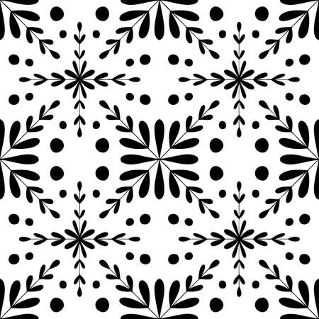 Tile seamless pattern. Black and white geometric background. Traditional repeat floral ornament.