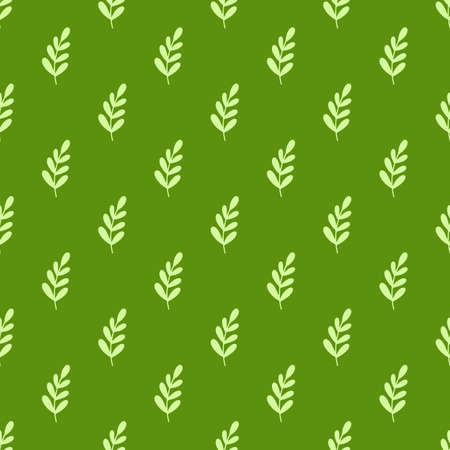 Tea leaves pattern. Seamless floral and herbal pattern on dark green background. Hand drawn leaf background.