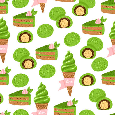 Matcha green tea pattern. Seamless japanese culture pattern with Matcha powder, bowl, teapot and cupcake. Vector illustration. Drink ceremony print for fabric, packaging.
