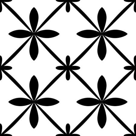 Tile portugal seamless pattern. Black and white geometric background. Traditional azulejo repeat ornament. Vector monochrome pattern. Abstract vintage print for fabric, packaging. 矢量图像