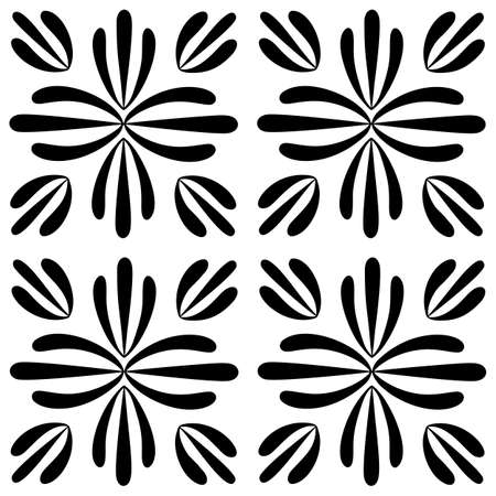 Tile seamless pattern. Black and white geometric background. Traditional repeat ornament. Vector monochrome pattern. Abstract vintage print for fabric, packaging.