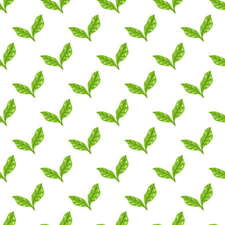 Tea leaves pattern. Seamless floral and herbal pattern. Hand drawn leaf background. Vector illustration. Vector bright print for fabric or packaging.