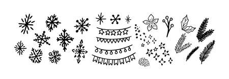 Christmas doodle set. Christmas tree branch, snowflakes and garland. Hand drawn xmas decorations icons. Vector illustration isolated on white background. Design elements for holiday greeting card, gift tag. Illusztráció