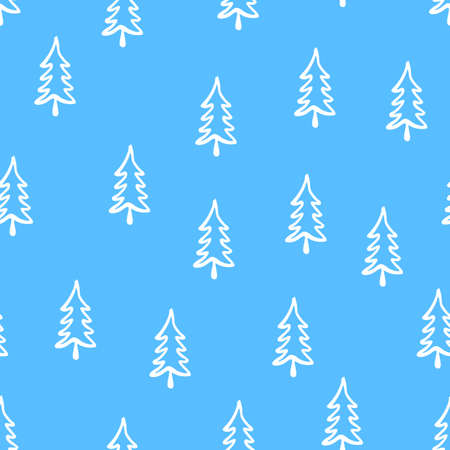Christmas tree seamless pattern. Hand drawn doodle forest background. Retro holiday wraping paper. Vector blue monochrome pattern. Abstract vintage print for fabric, packaging.